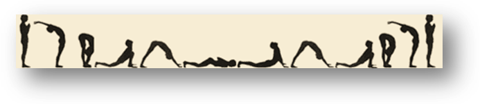 Stick figures of person doing sun salutation sequence
