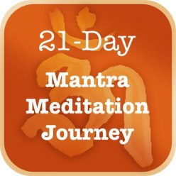 Orange square with text 21 mantra meditation journey