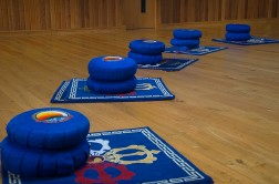 Meditation cushions laid out on floor