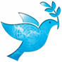 Blue dove carrying olive branch