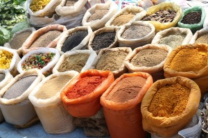 Bags of spices at market
