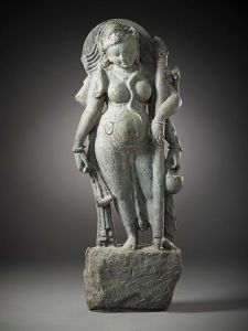 Stone statue of woman goddess