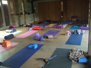Room with yoga mats