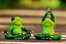 Frog statues in yoga positions