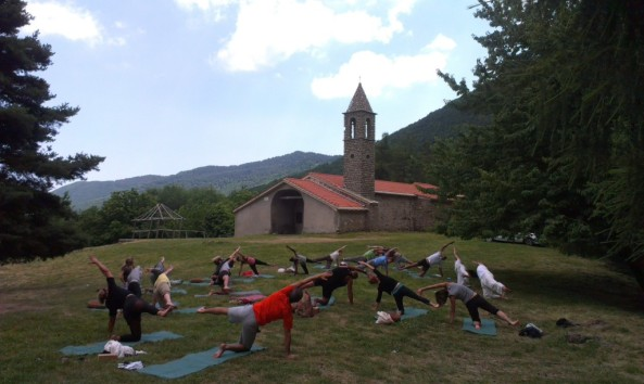 Yoga class outside in Italy