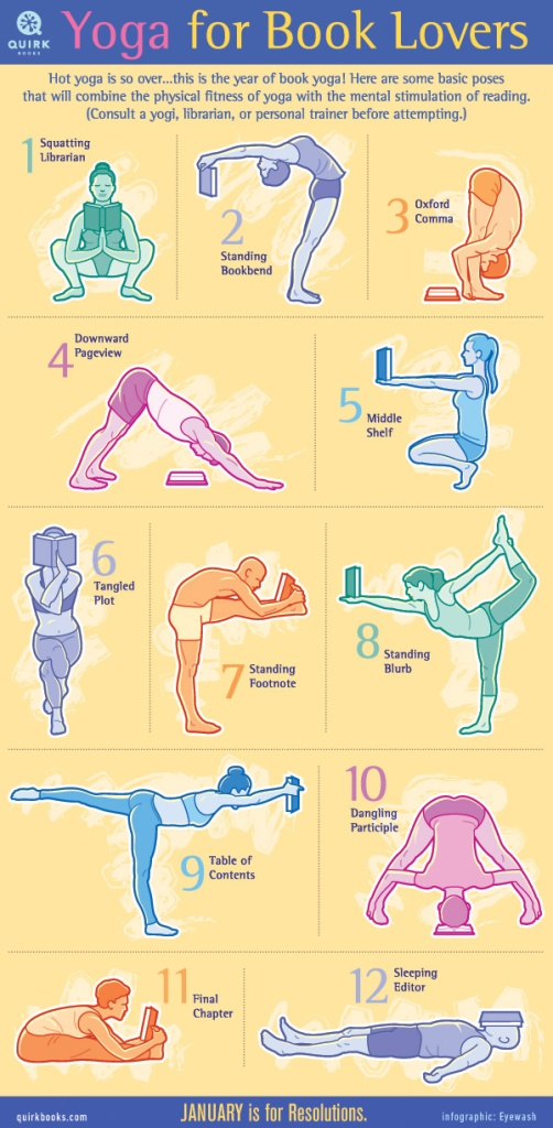 Person doing yoga poses holding a book