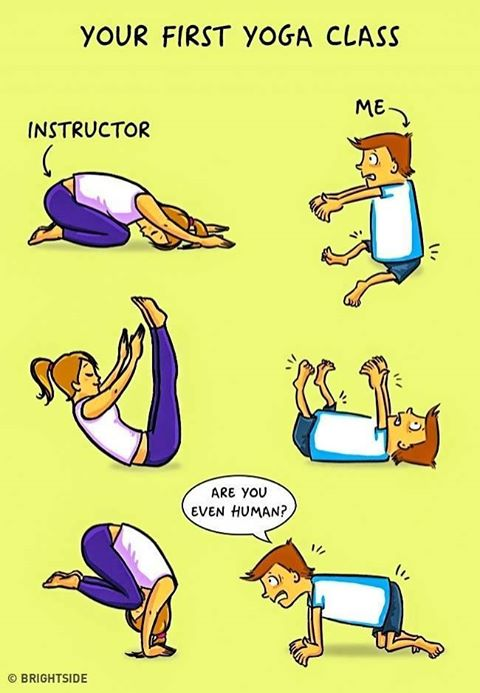 Drawings of yoga teacher and student doing poses