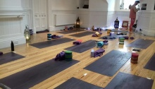 Yoga room with mats on floor