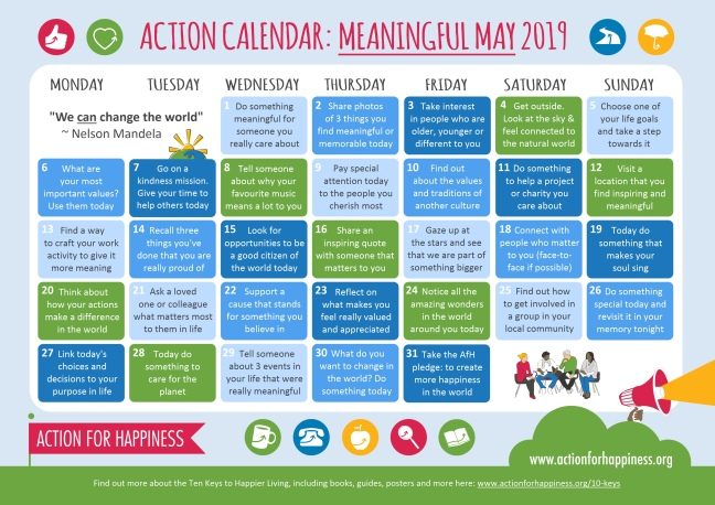 Monthly calendar with daily actions connected to the theme of Meaningful May