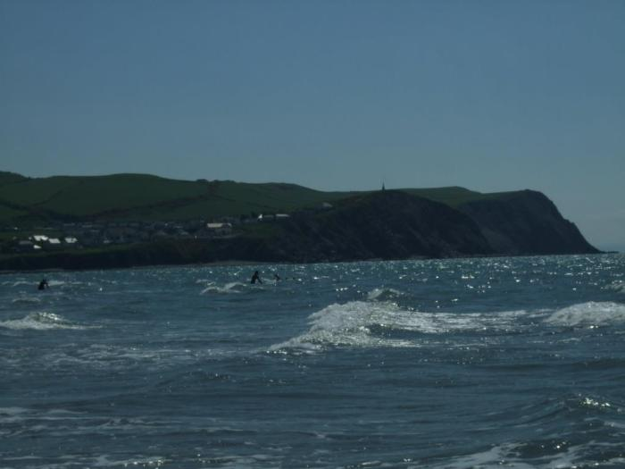 Surfers at Borth beach