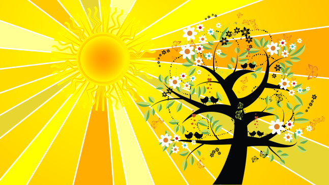 Sun and tree, in cartoon drawing