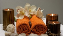 Towels and flowers in spa setting