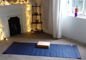 Picture of yoga mat in room