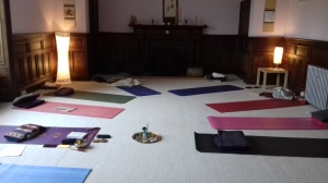 Yoga room with mats