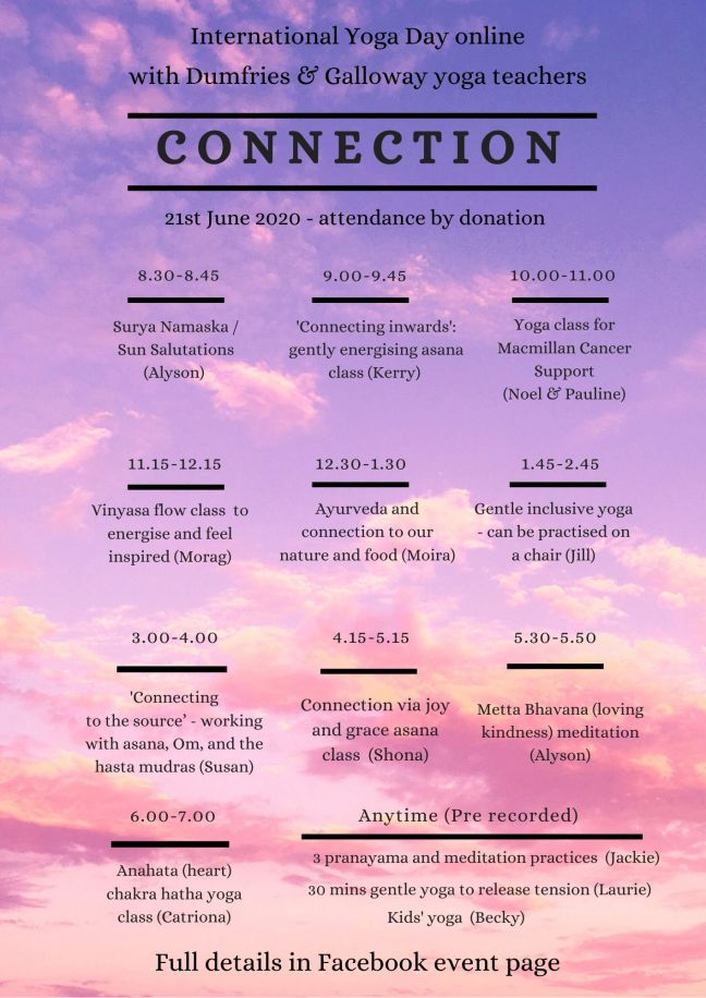 Poster with details of programme on pink sky background