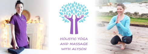 Image of female standing in massage tunic and image of female in yoga pose