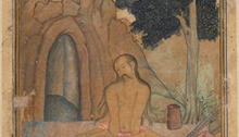 Painting of yoga asana Kukkutasana in Persian manuscript Bahr al-hayat c. 1602