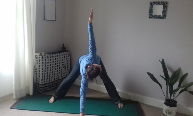 Alyson in variation of trikonasana or triangle standing yoga pose