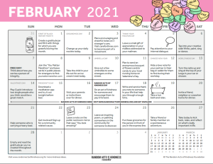 Calendar of kindness actions for February 2021